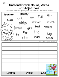find and graph nouns verbs and adjectives so many fun and