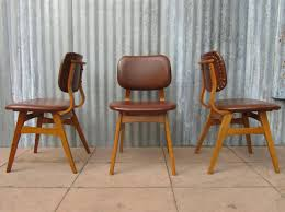 At Home Dining Chairs Mid Century Vinyl Dining Chairs Set Of 3 For Sale At Pamono