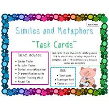 similes and metaphors task cards educents