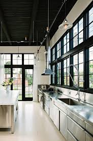 industrial kitchen island in commercial kitchen design with