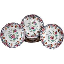 spode plates set of 8 antique early 19th c floral chinoiserie
