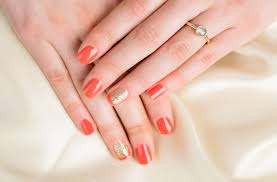 wedding nail art coral u0026 gold glitter partial french mani