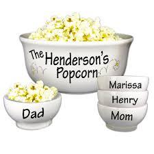 personalized bowl personalized popcorn bowl set 5 ceramic bowl set