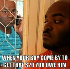 On The Phone Meme - boy come by to get that 20 you owe him black guy on the phone