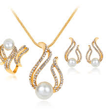 big pearl necklace wedding images 2017 hot sale fashion necklace jewelry set crystal gold silver jpg