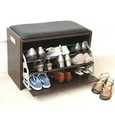 small storage bench seat entryway shoe with black wood decorative