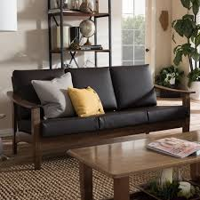 Modern Faux Leather Sofa Baxton Studio Phanessa Mid Century Modern Brown Faux Leather Sofa
