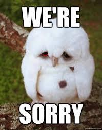 We Re Sorry Meme - we re sorry depressed owl quickmeme