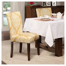 damask chair parson dining chair wood damask yellow set of 2 homepop target
