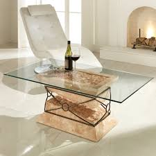stone and glass coffee table modern fossil stone glass and metal coffee table futuro
