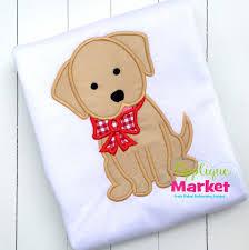 christmas applique christmas puppy bow