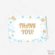baby shower thank you cards boy blue and gold baby shower