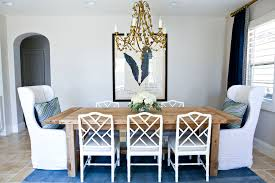 A Glamorous Dining Room In Navy White And Gold  STUDIO MCGEE - Navy and white dining room
