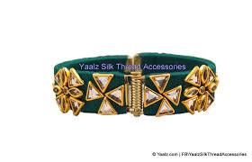 color stone bracelet images Yaalz silk thread kundan stone bracelet bangle in dark green color jpg