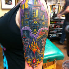 victorian haunted house skeleton tattoo by loo pimble my tattoos