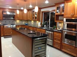 Kitchen Island With Granite Countertop Craftsman Kitchen With Wine Refrigerator U0026 Kitchen Island In