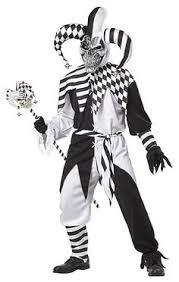 Harlequin Halloween Costume Mens Bw Medieval Jester 80s Circus Clown Harlequin Halloween Fancy