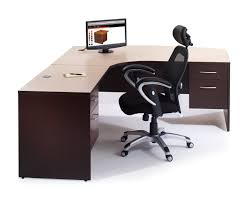 Office Desk Design Ideas L Shaped Espresso Full Bull Nose Corner Desk With Gray Solid Wood