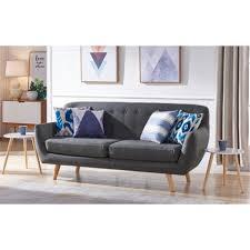 canapé 3 places tissu gris canapé 3 places tissu gris foncé pieds bois scandinave 186 cm