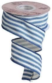 blue and white striped ribbon 2 5 ticking stripe ribbon blue white 10 yards ribbons