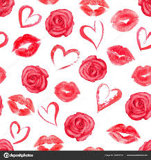 roses and hearts seamless pattern with roses hearts and trace kisses stock