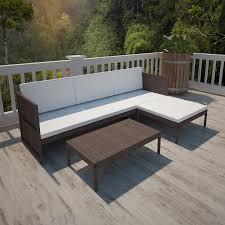 vidaxl brown outdoor poly rattan lounge set three seat sofa