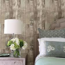 brewster heim taupe distressed wood panel wallpaper sample 2718