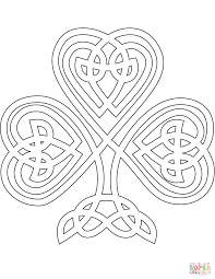celtic style shamrock coloring page free printable coloring pages