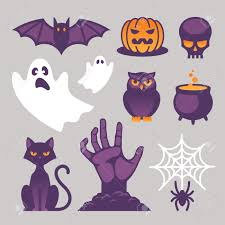 set of bright halloween icons signs and symbols with cat bat
