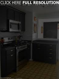 chic small kitchen design ideas furniture layout and arrangement picture of small kitchen design black cabinets and grey wall finish yellow flooring interiol design