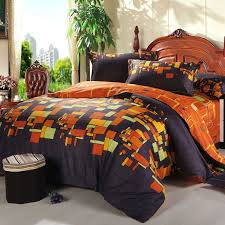 Satin Bedding Black And Orange Traditional Geometric Plaid Print Full Queen