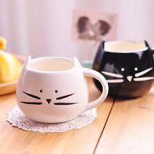 design coffee mug 400ml lovely ceramic black and white cute cat design coffee mug