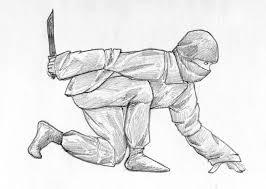 sneaking ninja pencil sketch stock illustration image 70741991