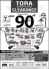30 may 1 jun 2014 tora malaysia warehouse sale for bathroom