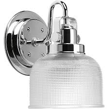 Chrome Bathroom Light Fixtures by Shop Progress Lighting Archie 1 Light 8 25 In Polished Chrome Bowl
