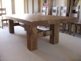 Oak Beam H Base Dining Table Rustic Oak Furniture Things I - Rustic oak kitchen table