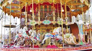 carousel merry go park attraction 4k uhd stock footage
