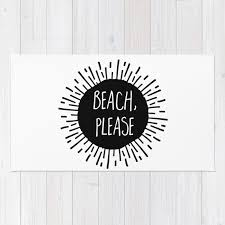 Black And White Floor Rug Woven Rug Floor Mat Beach Please Sunburst Black And White