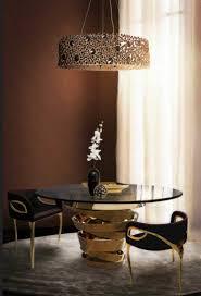 Esszimmer Gestalten Ideen Esstisch Rund Glas Elegantes Design Mit Luxus Lampen Esszimmer