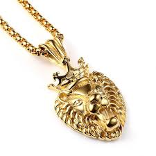 gold mens necklace pendant images Wholesale fashion men 18k gold hip hop jewelry vacuum lion head jpg