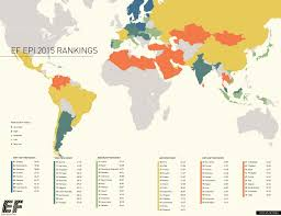 World Language Map by English Proficiency By Country By Ef Map English World