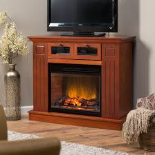 furniture brown stained wooden electric fireplace tv stand with