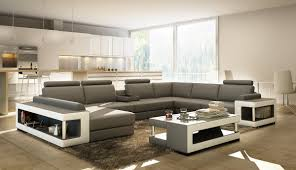White Leather Sectional Sofa Divani Casa 5080 Grey And White Leather Sectional Sofa W Coffee Table