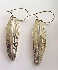 feather earrings for kids 14k gold eagle feather earrings by bearclaw indian custom