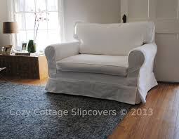 Charcoal Slipcover Cozy Cottage Slipcovers Brushed Canvas Chair And A Half Slipcover
