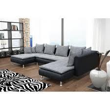 canape angle u canapé d angle convertible en u coloris gris noir en tissu et simili