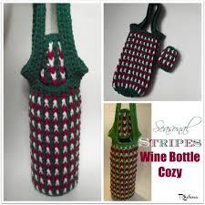 pattern for wine bottle holder free crochet pattern for a seasonal stripes wine bottle cozy by