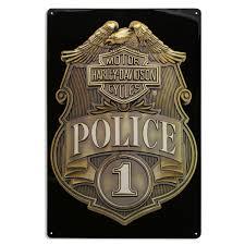 Harley Home Decor Harley Davidson Police Shield Badge Tin Sign Vintage Motorcycle