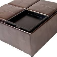 Small Storage Ottoman Table Brown Square Traditional Leather Coffee Table Storage