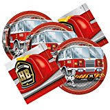 firefighter cupcake toppers truck and station decoset cake decoration toys